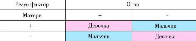 Узнать пол по группе крови и резус фактору